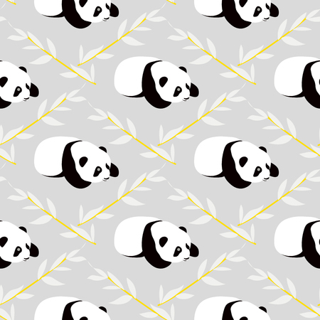 Panda bear vector background. Seamless pattern with cartoon pandas. Иллюстрация