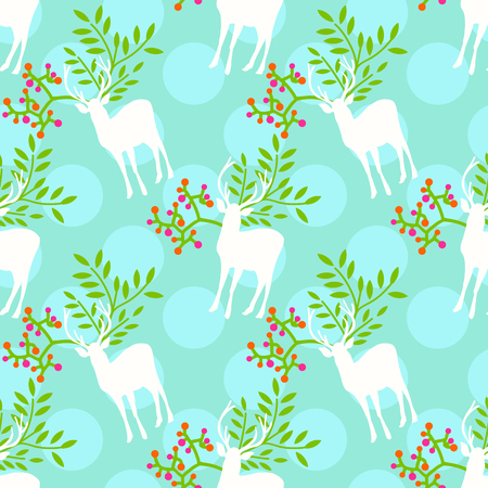 Seamless cute floral pattern with polka dot background Illustration
