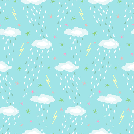 Seamless vector pattern with cute clouds and stars Ilustração