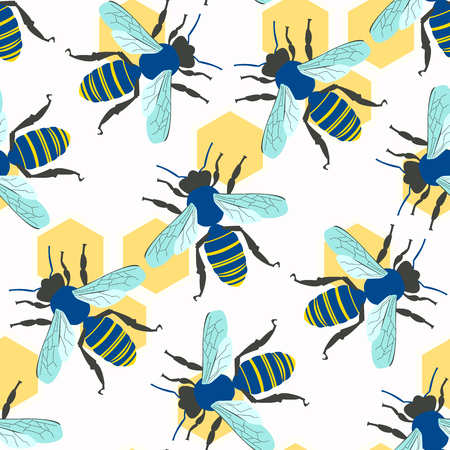Vector seamless pattern with bee Иллюстрация