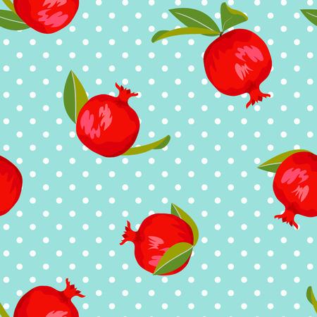 Pomegranate seamless pattern with polka dot background Illustration