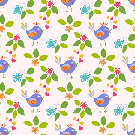 Nice flower with cute bird seamless pattern Illustration