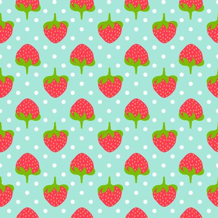 Strawberry seamless pattern whit polka dots
