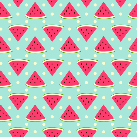 Sweet watermelon seamless pattern with polka dot Illustration