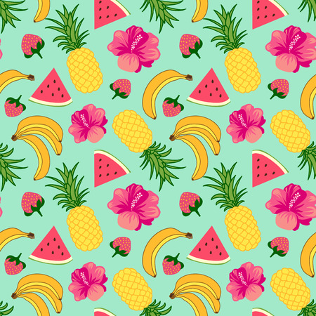 Floral seamless pattern with tropical fruit Illustration
