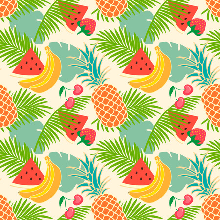 Floral seamless pattern with tropical fruit 向量圖像