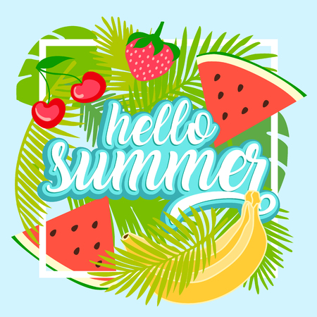 Tropical fruit background with leaves. Hello summer typographic vector illustration.