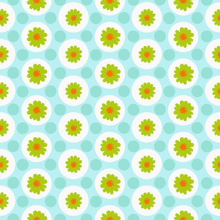 Floral seamless daisy pattern with circles Illustration