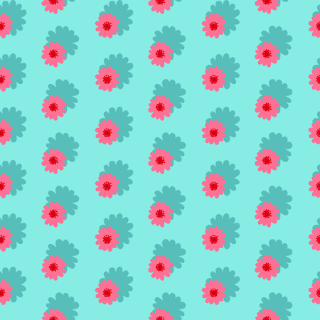 Pink daisies seamless pattern on a blue background.Daisy field. Flower chain. Illustration