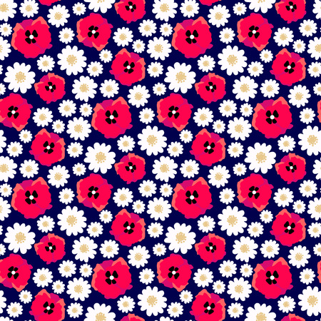 Vector seamless pattern with flower field. Daisy and poppy allover pattern