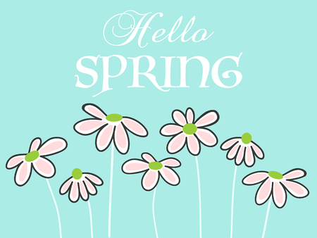 Hello spring lettering with cute daisies Illustration