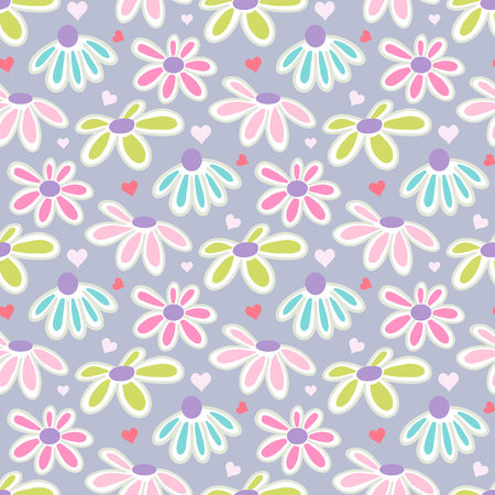 Floral pattern with colorful daisies.