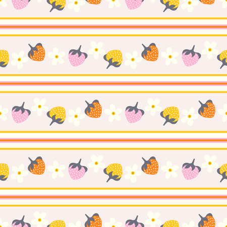 Floral seamless pattern with strawberry and stripes.