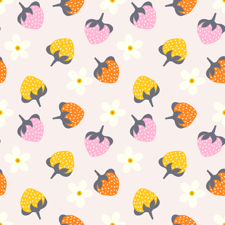 Floral seamless pattern with strawberry.