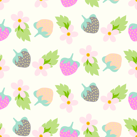 Floral seamless pattern with strawberries