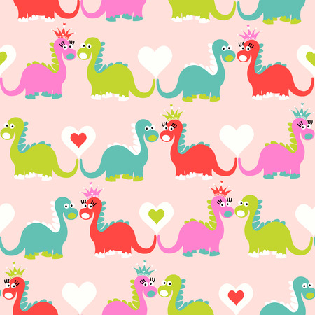 Cute dinosaur seamless pattern. Adorable cartoon dinosaurs background. Colorful kids pattern for girls and boys.