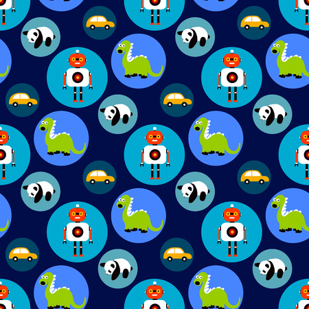 Seamless toys pattern for kids. Cartoon toy background with dragon, robot, car and panda bear. Illustration