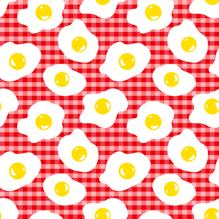 rejected: Seamless pattern with eggs on a checkered table cloth Stock Photo