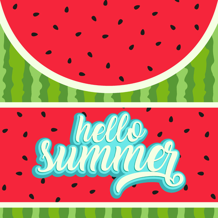 Hello summer greeting card with watermelon background Stock Photo