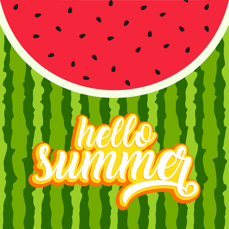 Hello summer greeting card with watermelon background Illustration
