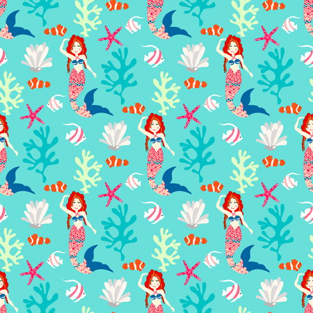 Seamless pattern with mermaid. Vector background nice underwater with fish, plant, sea shell, coral leaf, starfish, anemone and banner fish Illustration