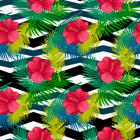 rejected: Seamless pattern tropical palm leaves on a geometric background Illustration