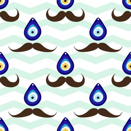 Patrón de bigote sin fisuras con fondo de cuentas y chevron de mal de ojo. Diseño de patrón de zig zag estilo turco.