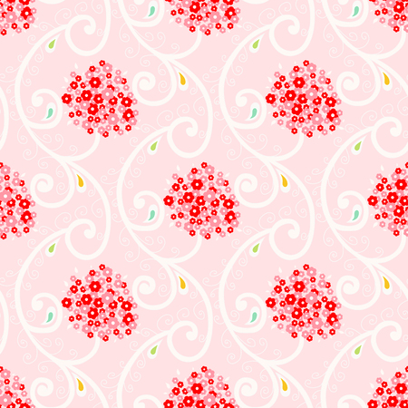 Seamless  pattern with small flowers. Vector background pink and red floral branch Illustration