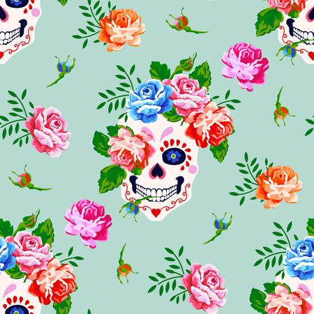 Seamless pattern with skull and rose. Floral skull pattern Stock Illustratie