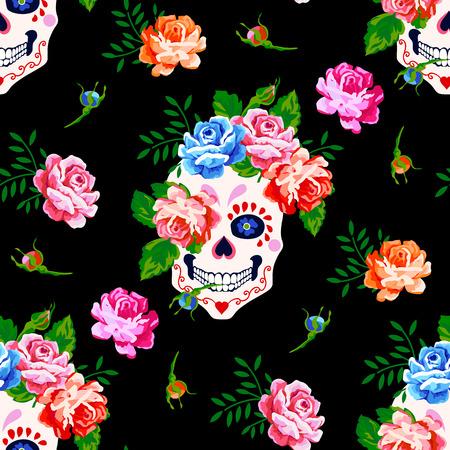 Naadloos patroon met schedel en roos. Bloemenschedelpatroon Stockfoto - 87784376