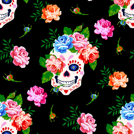 Seamless pattern with skull and rose. Floral skull pattern Illustration