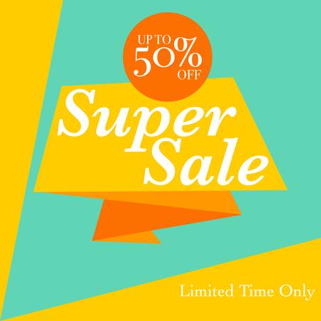 Sale discount background for store, online shop. 50% off discount promotion sale Illustration