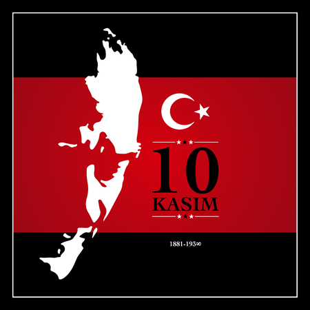 10 kasim anma gunu. November 10, Ataturk death anniversary. Illustration