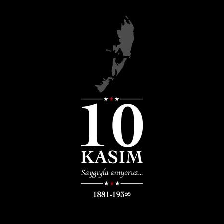 10 kasim anma gunu. November 10, Ataturk death anniversary.  イラスト・ベクター素材