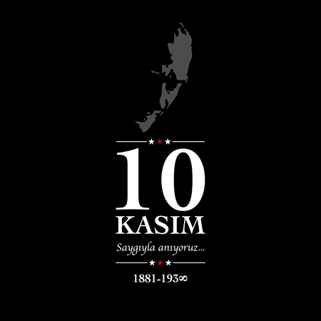 10 kasim anma gunu. November 10, Ataturk death anniversary. Stock Illustratie