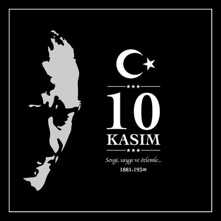 10 kasim anma gunu. November 10, Ataturk death anniversary. Иллюстрация