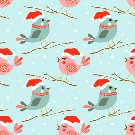 Christmas seamless pattern with cute birds.