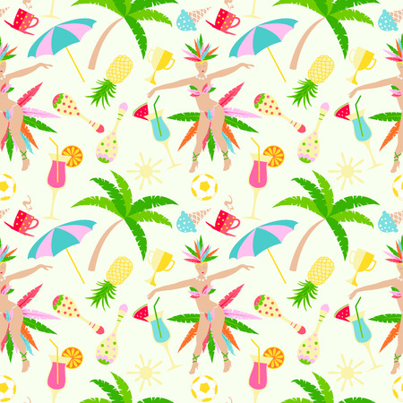 Brazillian carnival vector seamless pattern