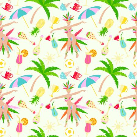 Brazillian carnival vector seamless pattern