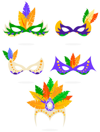 Vector colorful carnival masks icon set isolated on white