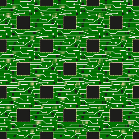 Seamless pattern of circuit board. Vector circuit board illustration background
