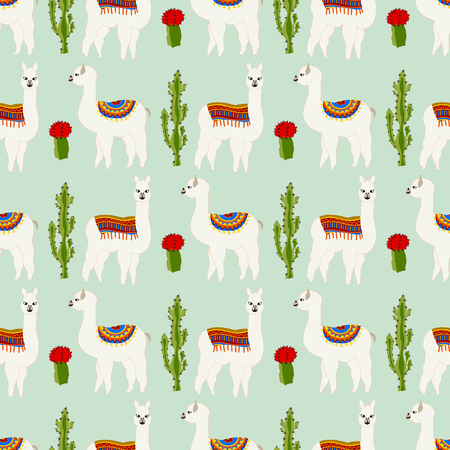 Seamless pattern with cute llama, cactus and flower. Vector abstract background for kid. Hand drawn lama design with sweet cacti. Ilustração