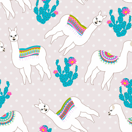 Seamless pattern with cute llama, cactus and flower. Vector abstract background for kid. Hand drawn lama design with sweet polka dot background.