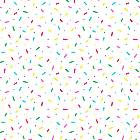 Patrones sin fisuras con chispitas de colores. Donut glaseado de fondo. Ilustración de vector