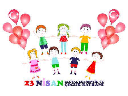 23 April children's day. Translation: April 23 national sovereignty and childrens day. Turkish translation: 23 Nisan ulusal egemenlik ve cocuk bayrami. Vector illustration. Illustration