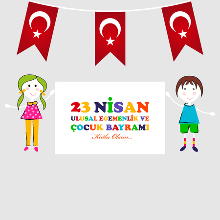 23 April Childrens day typography with children  and Turkey flag design. Çizim