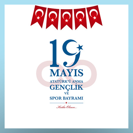 19th may commemoration of Ataturk, Youth and Sports Day. Turkish translate (19 mays mention of Ataturk, youth and sports holiday) Illustration