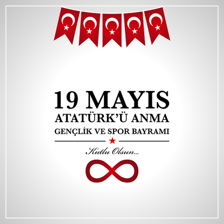 19th may commemoration of Ataturk, Youth and Sports Day. Turkish translate (19 mays mention of Ataturk, youth and sports holiday) Ilustracja