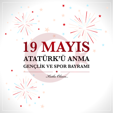 19th may commemoration of Ataturk, Youth and Sports Day. Turkish translate (19 mays mention of Ataturk, youth and sports holiday) Vettoriali