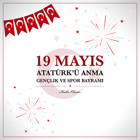 19th may commemoration of Ataturk, Youth and Sports Day. Turkish translate (19 mays mention of Ataturk, youth and sports holiday)  イラスト・ベクター素材